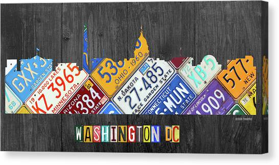 White House Canvas Print - Washington Dc Skyline Recycled Vintage License Plate Art by Design Turnpike