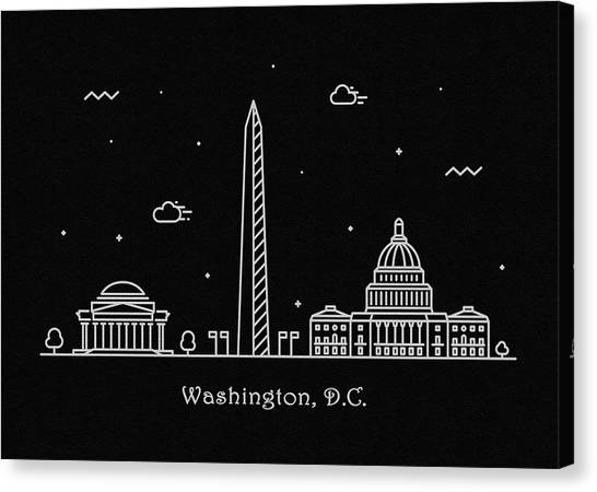D.c. United Canvas Print - Washington D.c. Skyline Travel Poster by Inspirowl Design