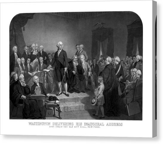 George Washington Canvas Print - Washington Delivering His Inaugural Address by War Is Hell Store
