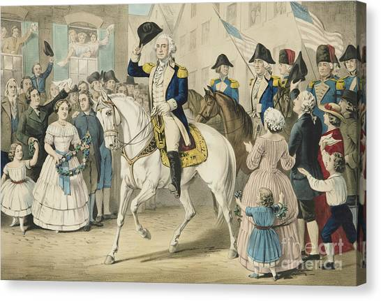Currier And Ives Canvas Print - Washington Entering New York On The Evacuation Of The City By The British On Nov 25th 1783 by Currier and Ives