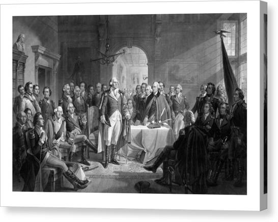 Politician Canvas Print - Washington Meeting His Generals by War Is Hell Store