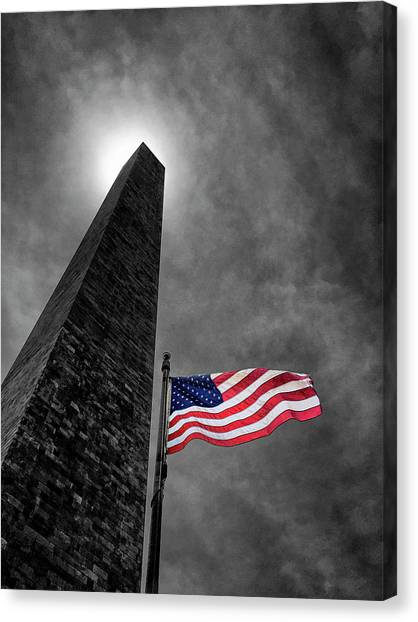 Washington Monument Canvas Print - Washington Monument And The Stars And Stripes by Andrew Soundarajan