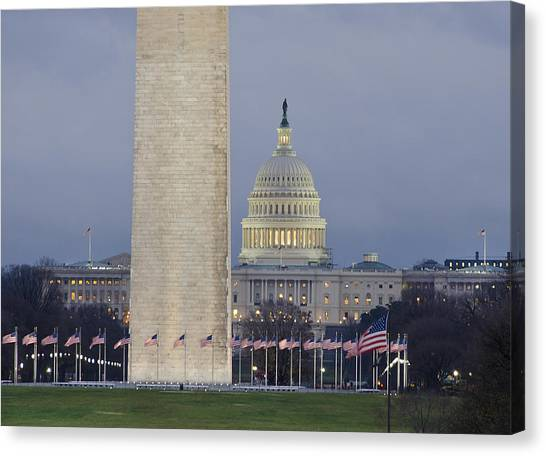 Washington Monument Canvas Print - Washington Monument And United States Capitol Buildings - Washington Dc by Brendan Reals