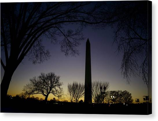 Washington Monument At Twilight With Moon Canvas Print