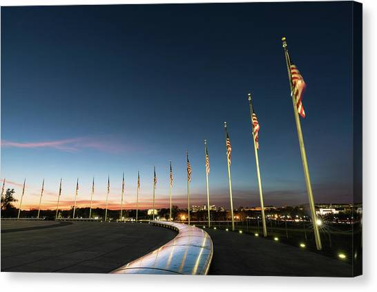 Lincoln Memorial Canvas Print - Washington Monument Flags by Larry Marshall