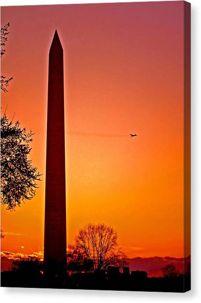Washington Monument With Airplane Canvas Print