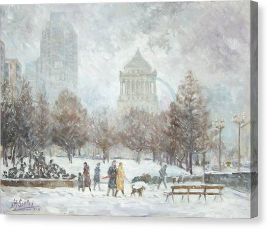 Washington Park In St.louis Winter Canvas Print