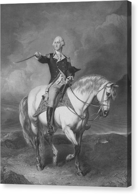 War Horse Canvas Print - Washington Receiving A Salute At Trenton by War Is Hell Store