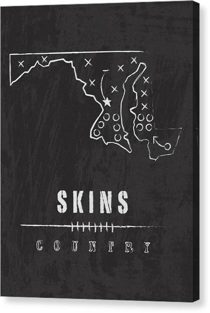 Washington Redskins Canvas Print - Washington Redskins Art - Nfl Football Wall Print by Damon Gray