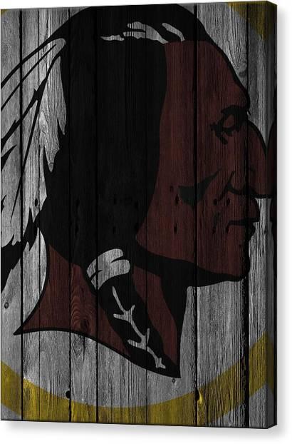 Washington Redskins Canvas Print - Washington Redskins Wood Fence by Joe Hamilton