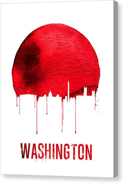 Washington Dc Canvas Print - Washington Skyline Red by Naxart Studio