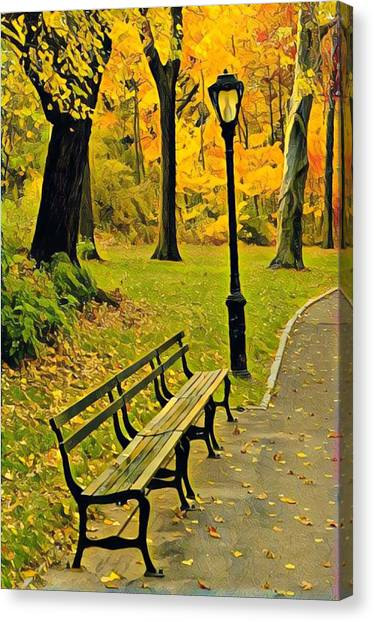 Washington Square Bench Canvas Print