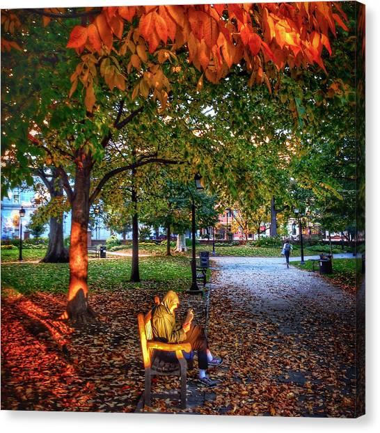 Washington Square Bench Time Canvas Print