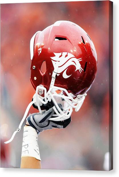 Pac 12 Canvas Print - Washington State Helmet  by Getty Images