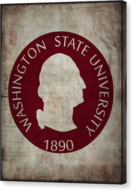Washington State University Canvas Print - Washington State University Seal Grunge by Daniel Hagerman