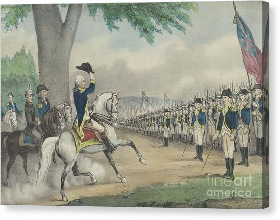 New England Revolution Canvas Print - Washington Taking Command Of The American Army At Cambridge, Massachusetts On 3 July 1775 by Currier and Ives