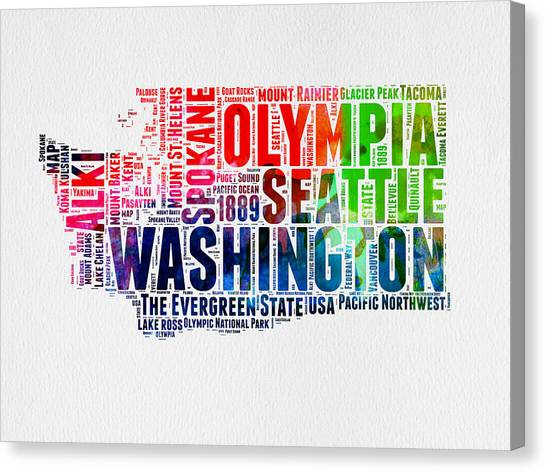 Independence Day Canvas Print - Washington Watercolor Word Cloud Map by Naxart Studio