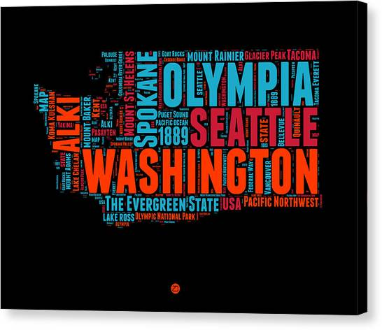 Independence Day Canvas Print - Washington Word Cloud Map 1 by Naxart Studio