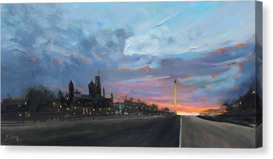 Smithsonian Institute Canvas Print - Washington Monument At Dusk by Donna Tuten