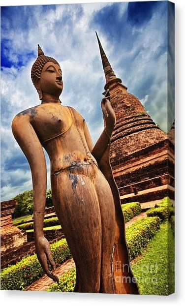 Wat Sra Sri In Sukhothai Thailand Southeast Asia Canvas Print