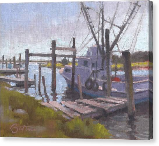 Shrimp Boats Canvas Print - Watch Your Step by Todd Baxter