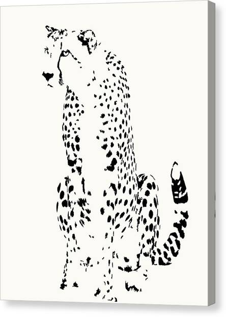 Watchful Cheetah On Its Haunches Canvas Print