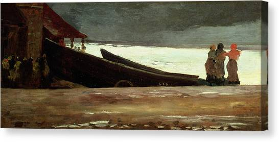 Anxious Canvas Print - Watching A Storm On The English Coast by Winslow Homer