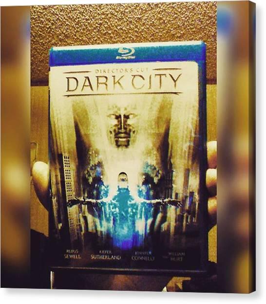 Sciencefiction Canvas Print - Watching dark City Director's Cut by XPUNKWOLFMANX Jeff Padget