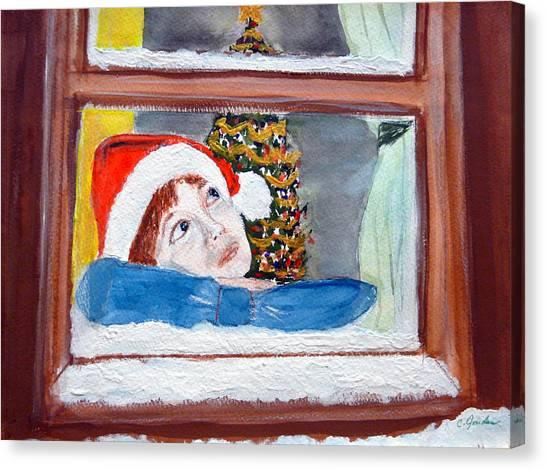 Watching For Santa Canvas Print by Cathy Jourdan