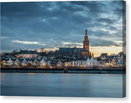 Watching The City Lights, Nijmegen Canvas Print