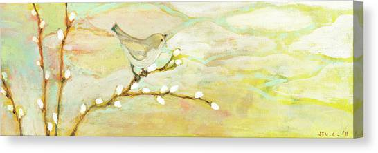 Sparrows Canvas Print - Watching The Clouds No 3 by Jennifer Lommers