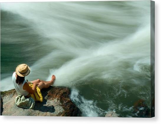Canvas Print featuring the photograph Watching The Rushing Water by Dutch Bieber