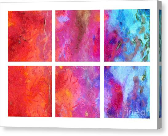 Merging Canvas Print - Water And Fire Abstract by Edward Fielding