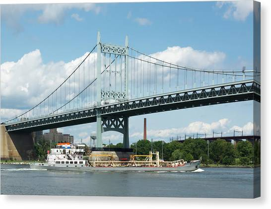 Water And Ship Under The Bridge Canvas Print