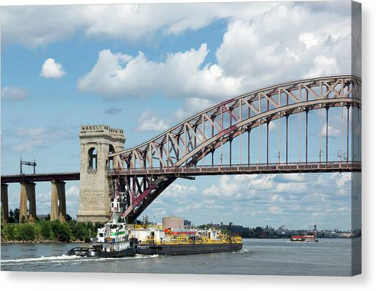 Hell Gate Bridge And Barge Canvas Print