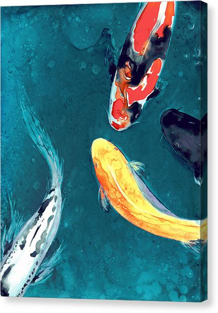 Fish Canvas Print - Water Ballet by Brazen Design Studio
