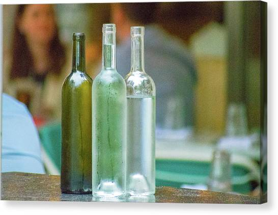 Water Bottles At New York Brasserie No 2 Canvas Print