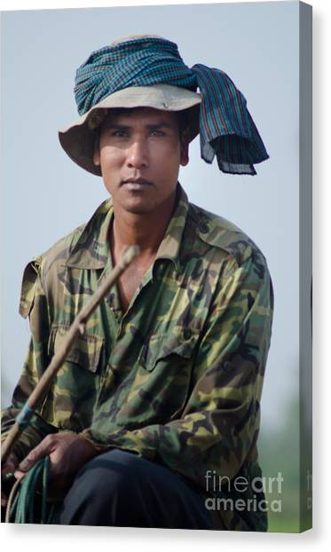 Water Buffalo Driver In Cambodia Canvas Print
