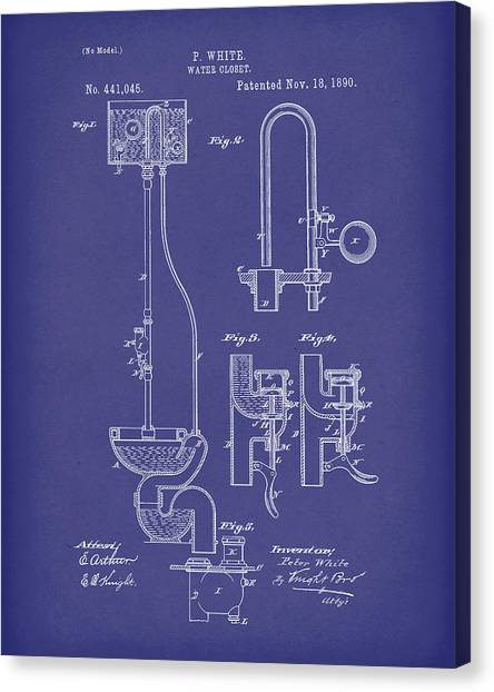 Canvas Print featuring the drawing Water Closet Patent Art Blue by Prior Art Design