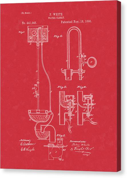 Canvas Print featuring the drawing Water Closet Patent Art Red by Prior Art Design