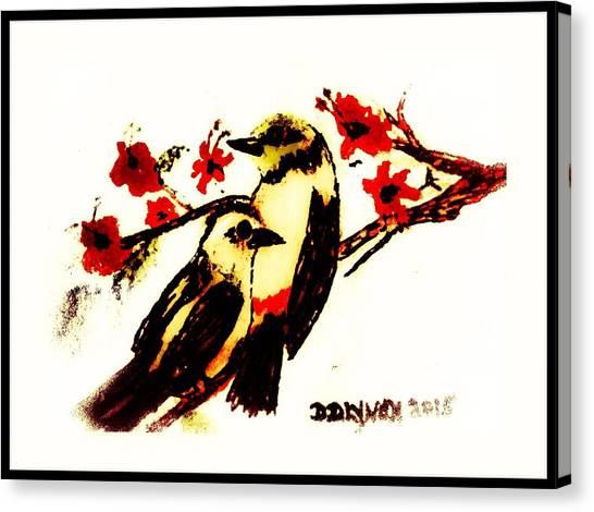 Border Wall Canvas Print - Water Color Birds Tree Branch  by Debra Lynch