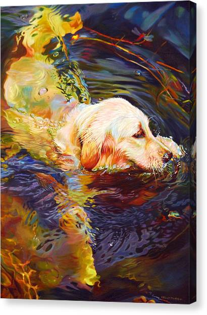 Golden Retrievers Canvas Print - Water Dance 2 by Kelly McNeil