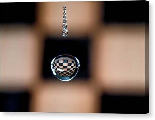 Water Drop Chess Board Canvas Print