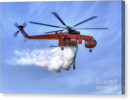 Skycrane Canvas Print - Water Drop by Rick Mann