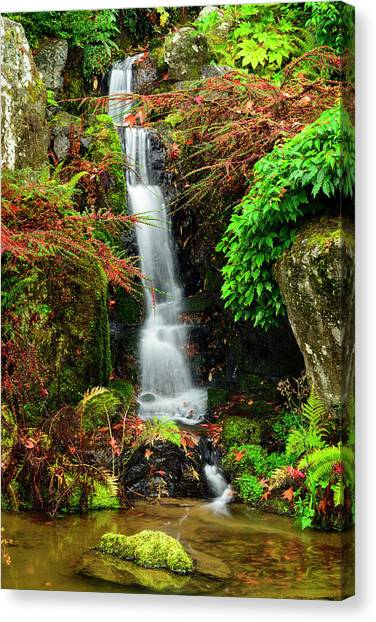 Waterfall At Kubota Garden Canvas Print