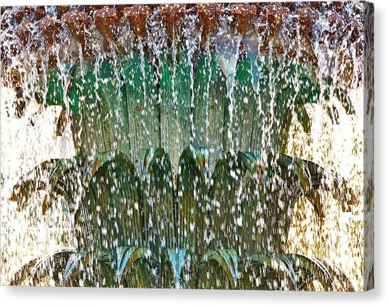 Water Fountain Bright Charleston Canvas Print by Lori Kesten