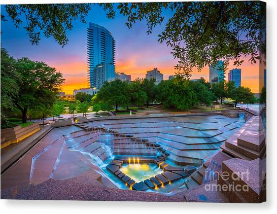 Texas Canvas Print - Water Gardens Sunset by Inge Johnsson