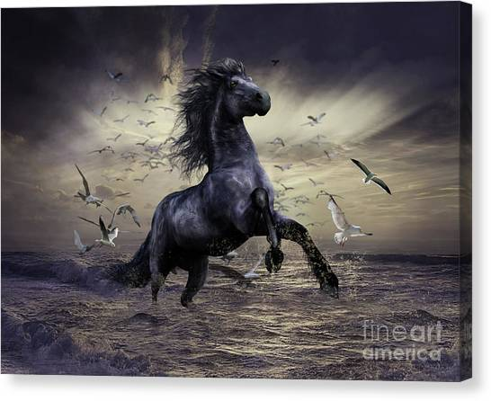 Southwest Canvas Print - Racing Before The Storm by Shanina Conway