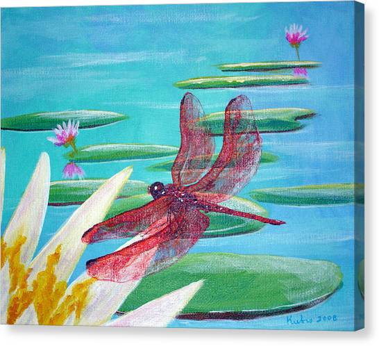 Water Lilies And Dragonfly Canvas Print by Susan Kubes