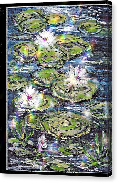 Water Lilies And Rainbows Canvas Print